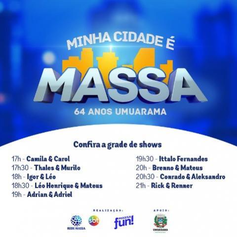 Show Minha Cidade é Massa  em Umuarama, confira a Programação
