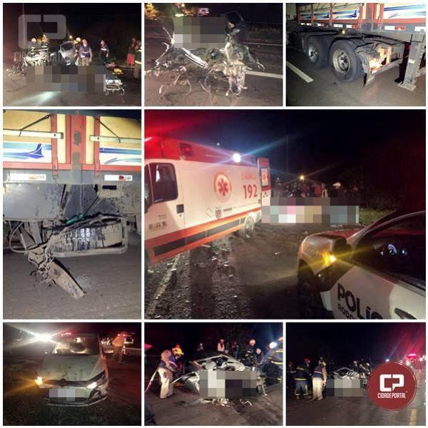 Cinco pessoas ficam feridas em acidente entre dois automóveis e uma carreta na PR-323, em Cruzeiro do Oeste