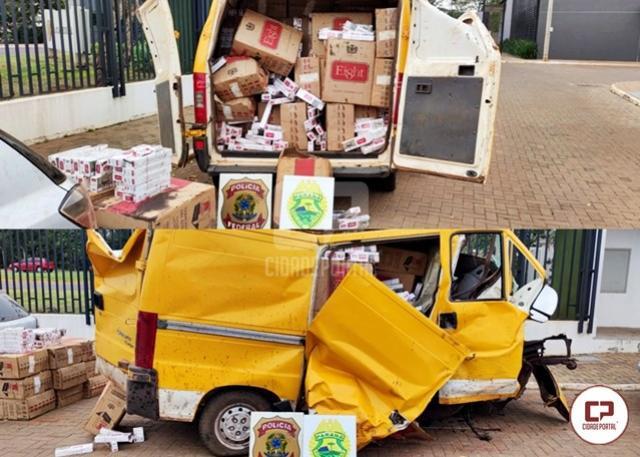 PF e BPFron realizam apreensão de uma Van carregada com cigarros paraguaios em Francisco Alves