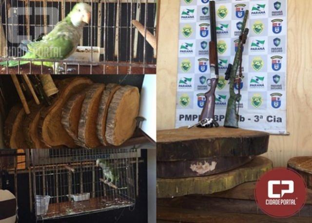 Polícia Ambiental apreende armas, aves e madeiras nativas em Umuarama