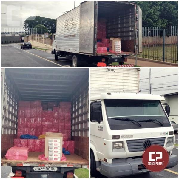 Polícia Militar de Ivaté localiza caminhão roubado com 15 mil caixas de cigarro contrabandeados