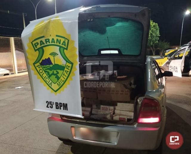 PM age rápido e apreende veículo carregado com cigarros contrabandeados em Umuarama