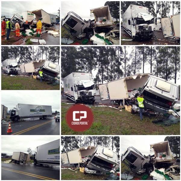 Acidente entre dois caminhões, deixa 3 pessoas feridas em Perobal