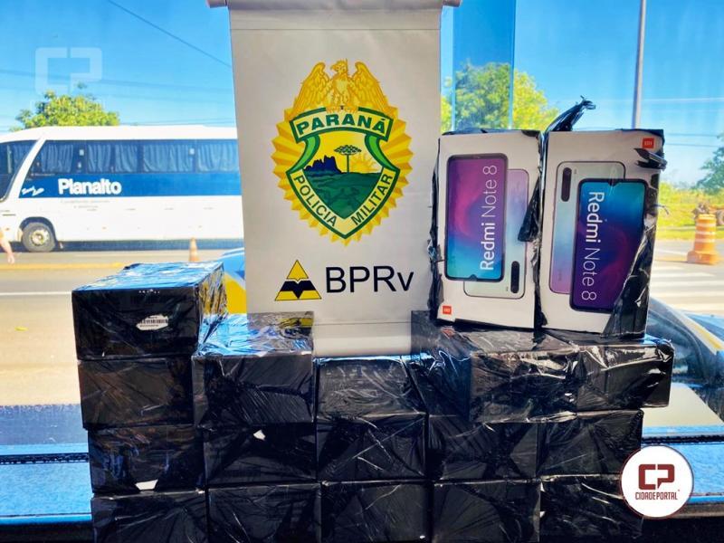 Polícia Rodoviária de Cruzeiro do Oeste apreende celulares em ônibus