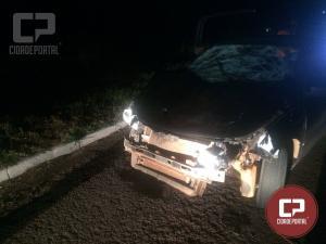 Família de Goioerê que voltava de consulta médica em C. Mourão sofre acidente com animal no trevo de Jaracatiá