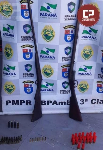Polícia Ambiental de Umuarama prende duas pessoas por posse ilegal de arma de fogo