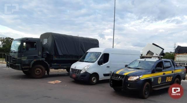 PRF e Exército recuperam em Guaíra Van que foi roubada em São Paulo