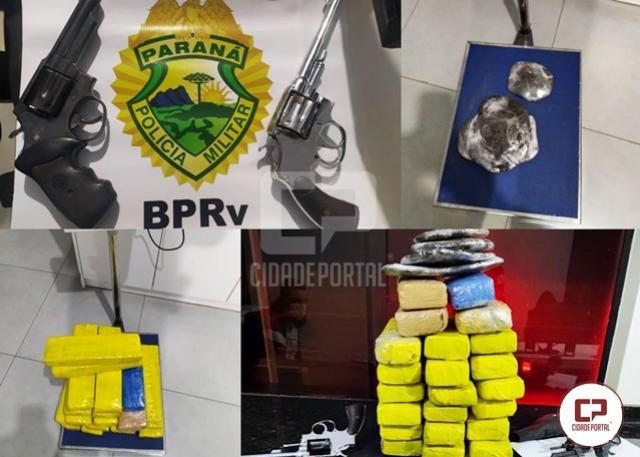 PRE de Iporã apreende drogas e armas em ônibus de linha no município de Cafezal do Sul