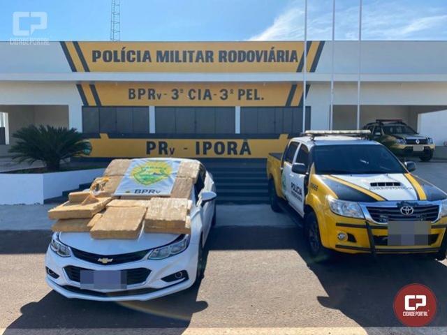 PRE de Iporã apreende mais de 188 kg de maconha e recupera veículo furtado