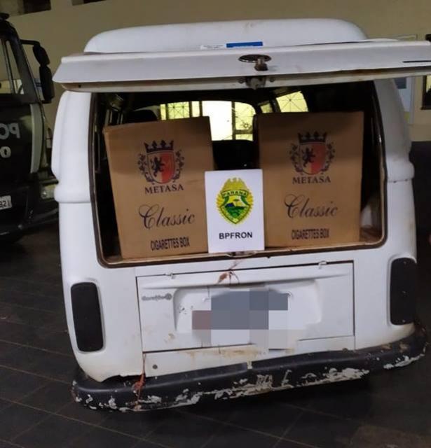BPFRON apreende veículo carregado com cigarros contrabandeados em Guaíra durante Operação Hórus