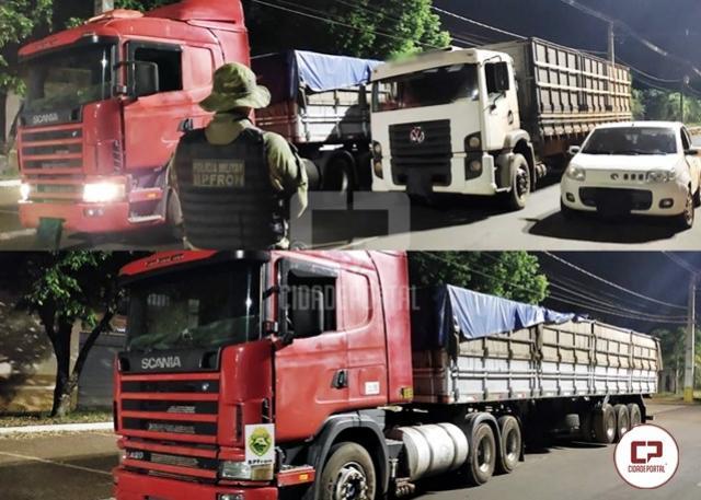 BPFron apreende carro e caminhões carregados com cigarros contrabandeados em Altônia