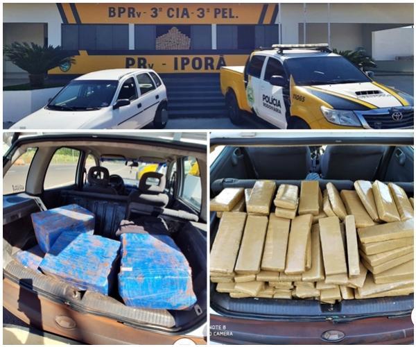 Posto Policial Rodoviário de Iporã apreende 193 kg de drogas durante fiscalização na PR-323