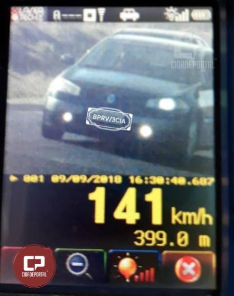 Motorista é flagrado à 141km/h durante fiscalização da PRE no trecho entre Cascavel e Jotaesse
