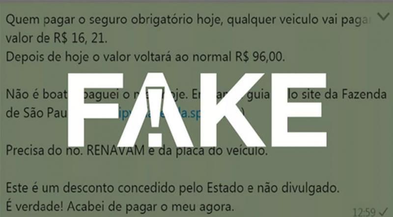 É#FAKEque pagamento antecipado de DPVAT garante desconto