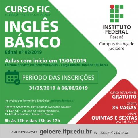 IFPR de Goioerê abre inscrições para Curso FIC de Inglês Básico