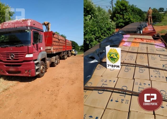 Policiais Militares do 7º BPM apreendem um caminhão carregado com contrabando em Tapira