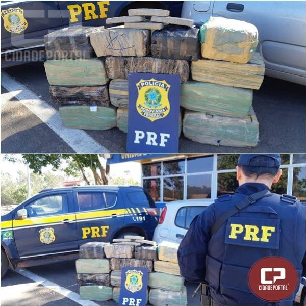 PRF recupera veículo roubado e apreende 320 kg de entorpecentes em Alto Paraíso