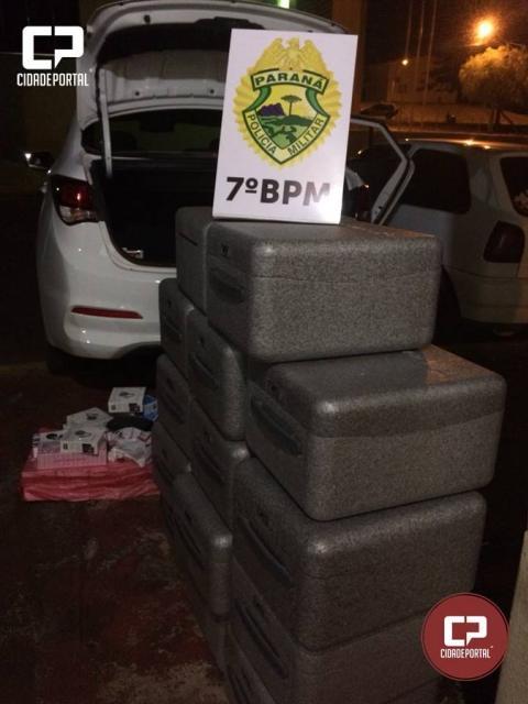 ROTAM de Cruzeiro do Oeste apreende dois veículos carregados com mercadorias do Paraguai