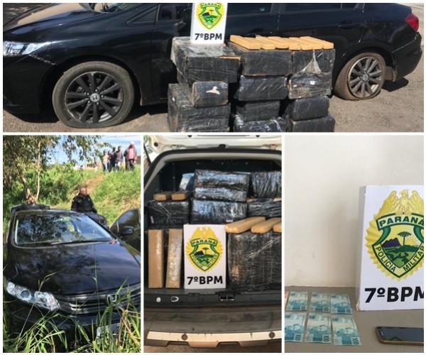 Policiais do 7º BPM apreendem 271 KG de entorpecentes na cidade de Moreira Sales-PR