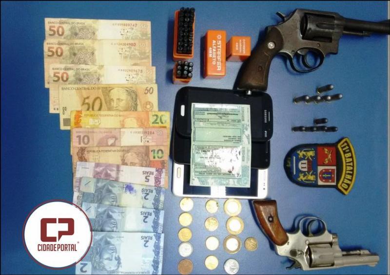Polícia Militar de Roncador apreende duas armas fogo, um veículo adulterado, entorpecente e prende duas pessoas