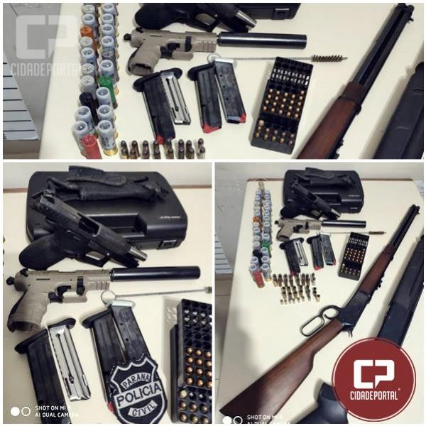 Polícia Civil cumpre mandado de busca e apreensão e localiza armas e munições em Iporã