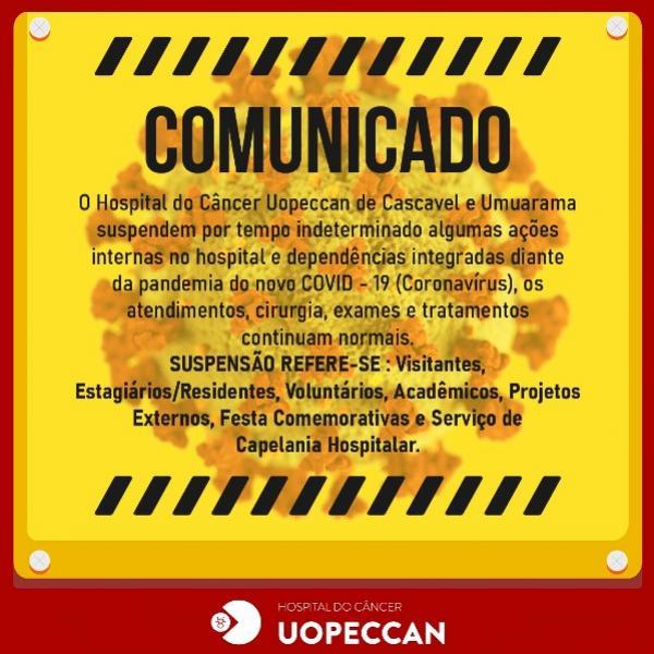 Uopeccan suspende algumas atividades devido ao coronavírus