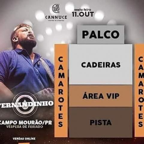 Show do cantor gospel Fernandinho dia 11 de Outubro no Cannecce Eventos de Campo Mourão