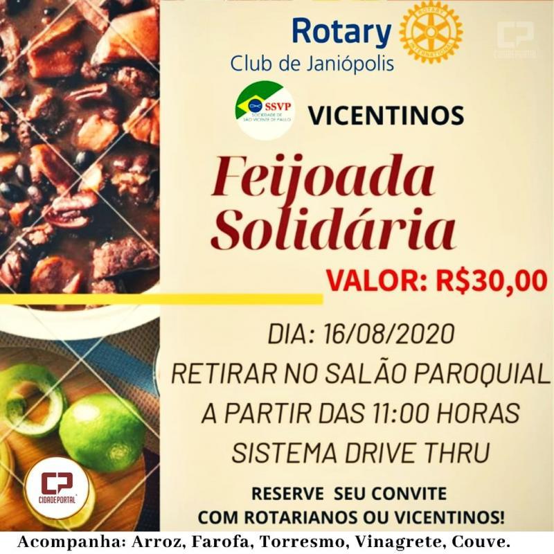Parceria Rotary club de Janiópolis e vicentinos promove feijoada solidária - reserve a sua