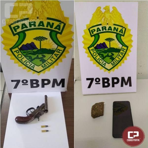 7° BPM efetua prisão e apreende entorpecentes, arma e munições durante o final de semana