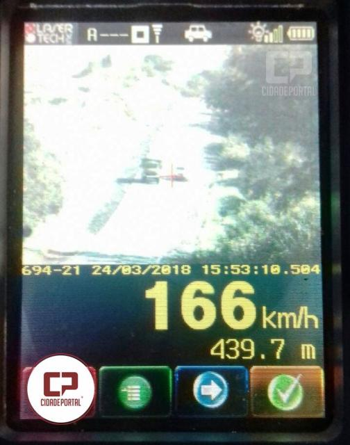 Motorista é flagrado a 166 km por hora em Iporã no Noroeste do Paraná