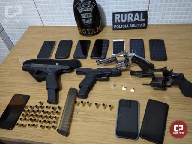 PM de Campo Mourão acaba com festa em chácara, apreende drogas e quatro armas de fogo
