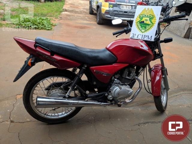 Polícia Militar recupera motocicleta roubada em Querência do Norte