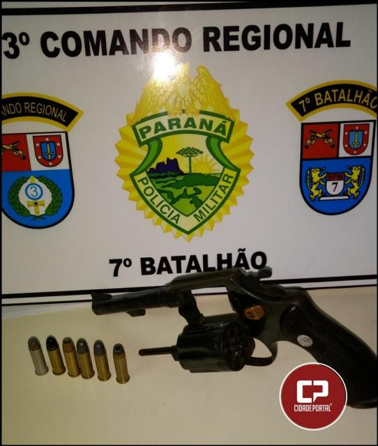 Polícia Militar de Goioerê durante patrulhamento apreende arma, munições e encaminha envolvido para delegacia