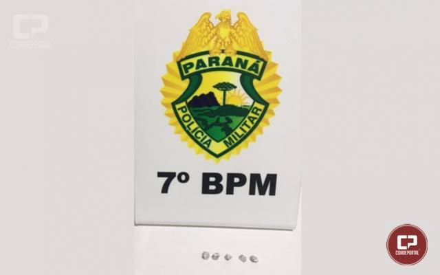 Policiais Militares do 7º BPM detém uma pessoa com 5 pedras de Crack em Tapejara