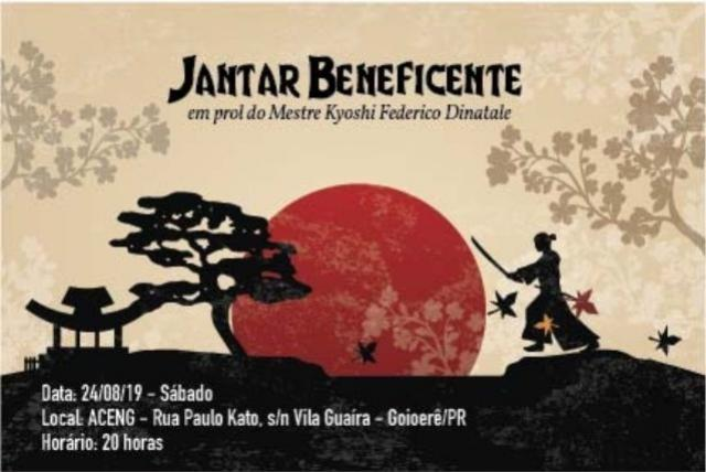 Jantar Beneficente em prol a escola de artes marciais Bugeiko será realizado neste sábado, 24