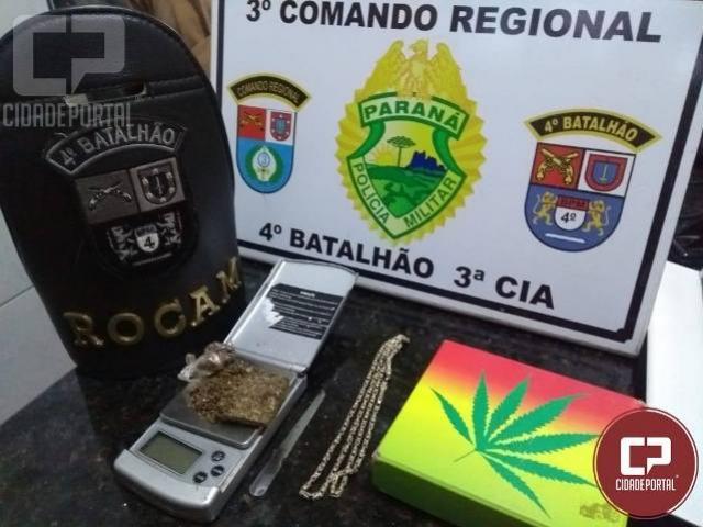 Em operação Mandaguari Segura, Policia Militar prende um suspeito de tráfico, apreende droga e objetos