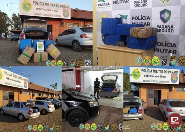 Quatro pessoas presas, 300 kg de maconha e 3 veículos foram apreendidos no Paraná durante Operação Hórus