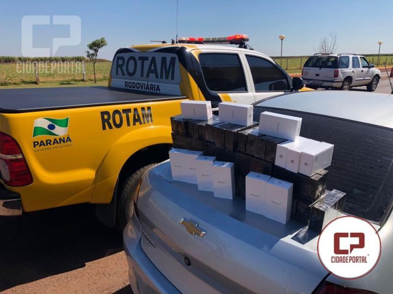 Equipe Rotam apreende veículo carregado com celulares contrabandeados