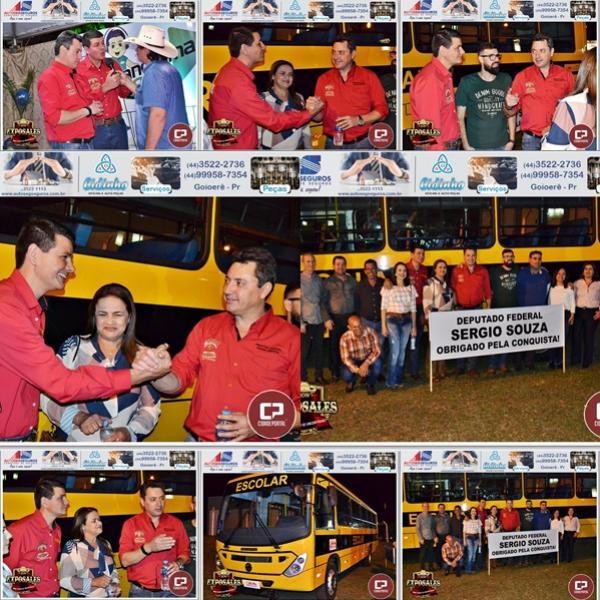 Deputado Federal Sérgio Souza entrega ônibus 00 km durante a Expo Sales 2019