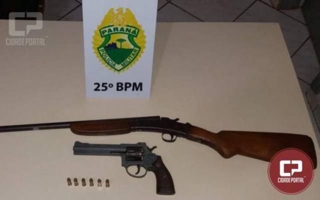 Policiais Militares de Alto Piquiri apreendem duas armas e encaminham dois homens por porte ilegal de arma de fogo
