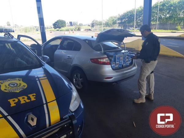 PRF apreende veículo carregado com 9 mil carteiras de cigarros contrabandeados em Guaíra