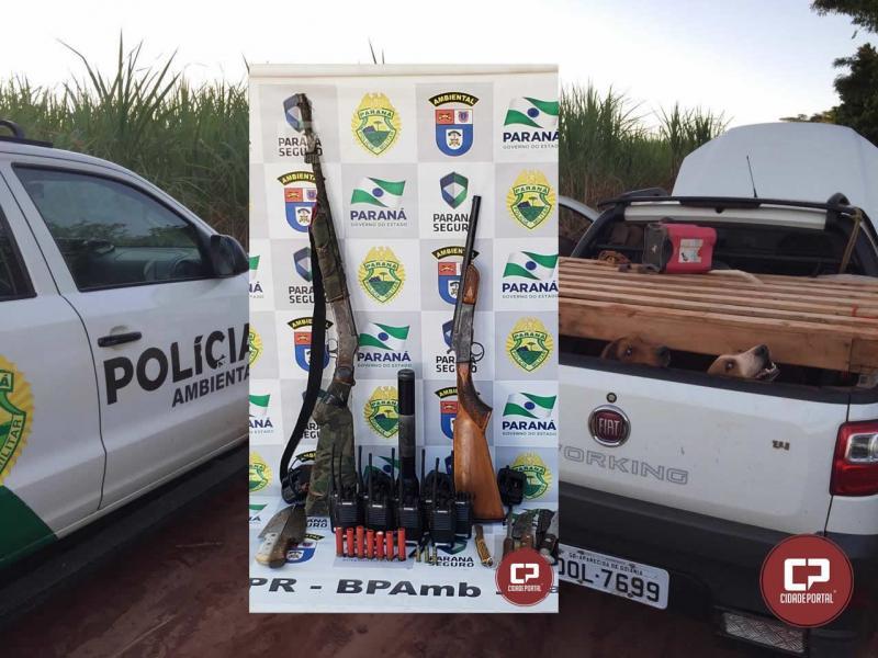 Polícia Ambiental de Umuarama prende caçadores por maus tratos em animais e por porte ilegal de arma de fogo