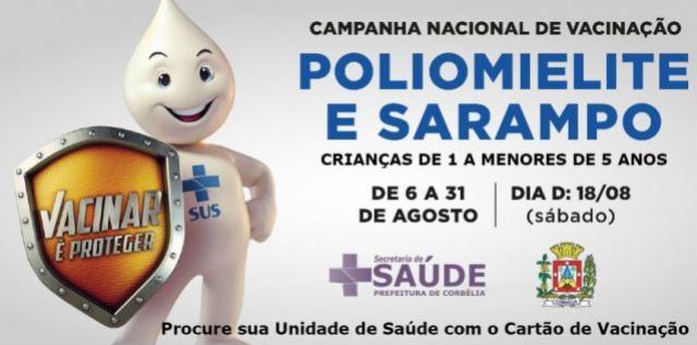 Campanha Nacional de Vacinação contra Sarampo e Poliomielite em Corbélia