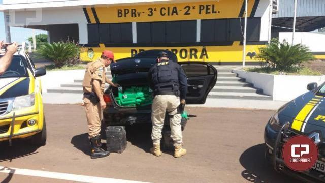 Posto Policial Rodoviário Estadual de Iporã e PRF de Guaíra realizam apreensão de 365 kg de maconha