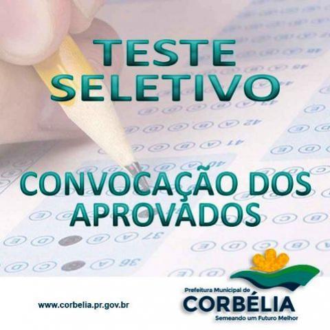 Convocação dos aprovados Teste Seletivo da Prefeitura de Corbélia