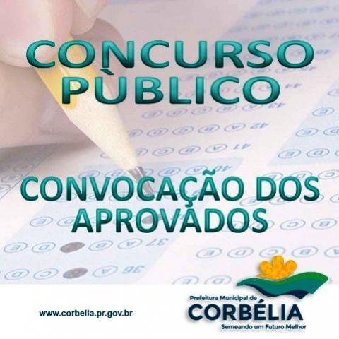 Convocação dos aprovados no Concurso Público da Prefeitura de Corbélia