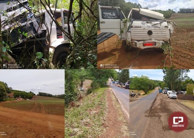 Homem morre em acidente ao sair da pista com caminhão na PR-369, em Corbélia
