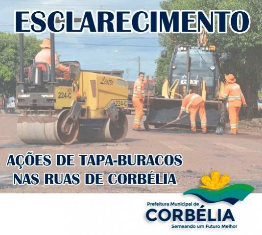 Nota de Esclarecimento sobre ações de Tapa Buracos nas Ruas de Corbélia