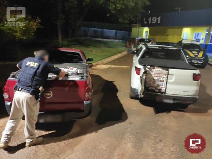 PRF apreende dois veículos carregados com cigarros contrabandeados em Céu Azul