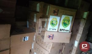 Polícia Militar apreende carregamento de cigarros contrabandeados durante Operação Hórus em Realeza